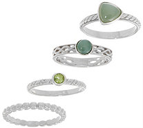 Gemstone Set of Four Sterling Silver Stack Rings - J355392