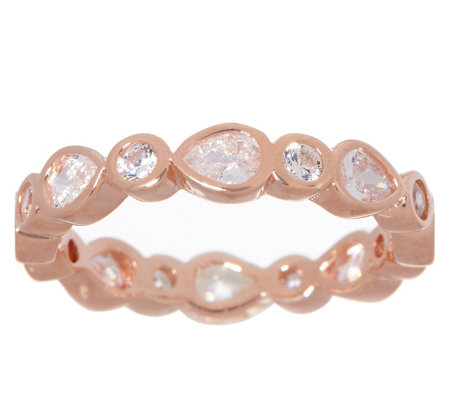 Diamonique Bezel Set Pear & Round Eternity Band Sterling