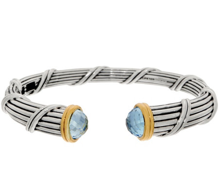 Peter Thomas Roth Sterling & 18K Clad Blue Topaz Cuff, 49.1g