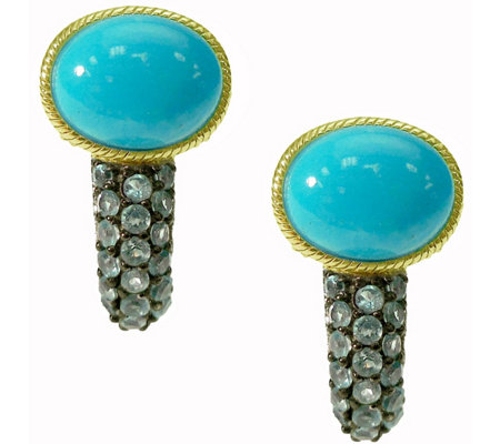 Judith Ripka 14K Clad Turquoise & Blue Topaz Earrings