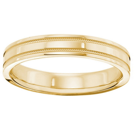 Women's 14K Yellow Gold 4mm Double Milgrain Wedding Band