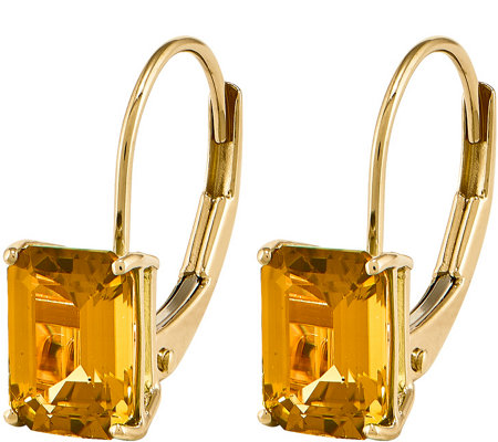 14K Emerald-Cut Gemstone Leverback Earrings