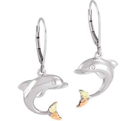 Black Hills Dolphin Earrings Sterling 12k Gold