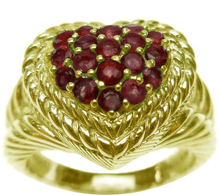 Judith Ripka 14K Clad Pave' 0.60 cttw Ruby Heart Ring