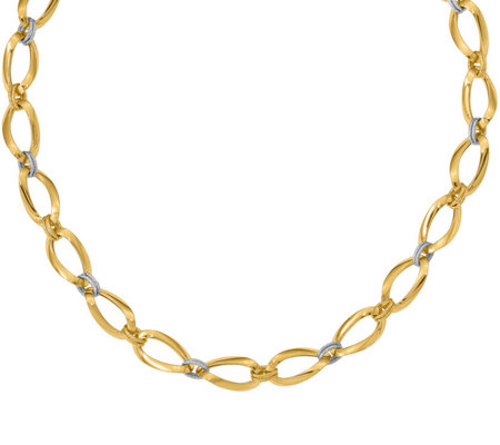Italian Gold Two-Tone Oval and Round Necklace 14K, 11.8g