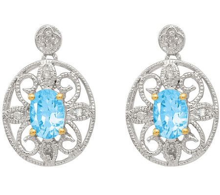 Sterling & 14K 0.85 cttw Blue Topaz & DiamondEarrings