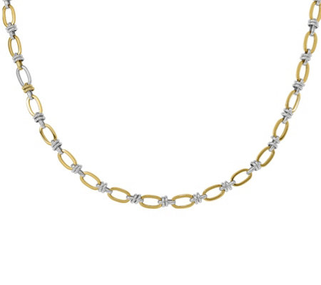 14K Two-Tone Fancy Link Necklace, 9.8g