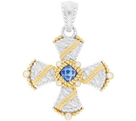 Judith Ripka Sterling & 14K Clad Blue Topaz Cross Enhancer