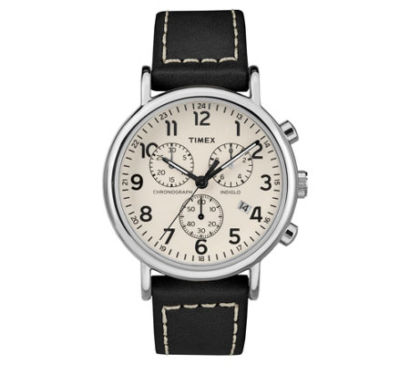 Timex Men's Weekender Black Leather Strap Chronograph Watch