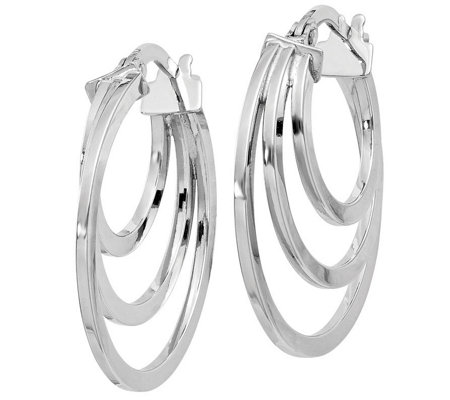Italian Gold Polished Triple Hoop Earrings 14k