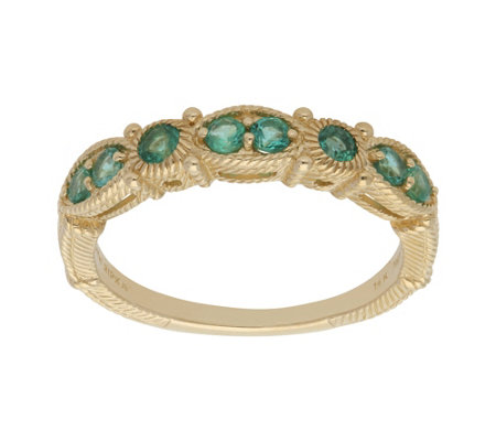 Judith Ripka 14K Gold Emerald Band Ring