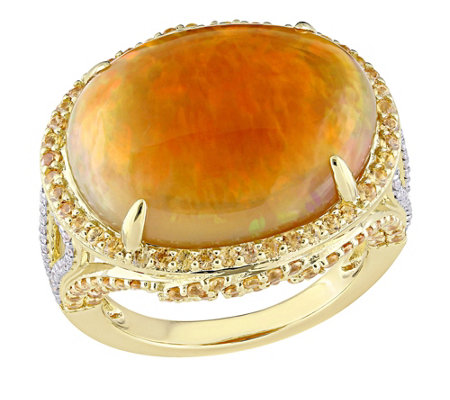 14K Gold 13.10 cttw Opal and Yellow Sapphire Ring