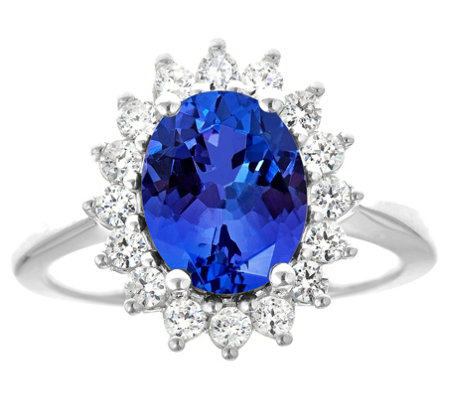 14K Gold 2.40 cttw Oval Tanzanite Halo Ring