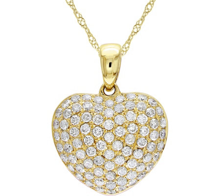 Affinity 14K Gold 1/2 cttw Diamond Heart Pendant w/ Chain