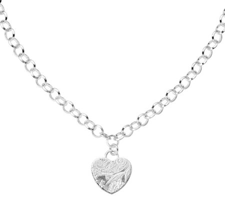Italian Silver Heart Dangle Necklace 20 8g