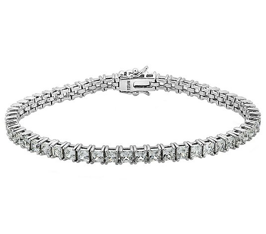Diamonique Sterling 8.50 cttw Princess-Cut Tennis Bracelet