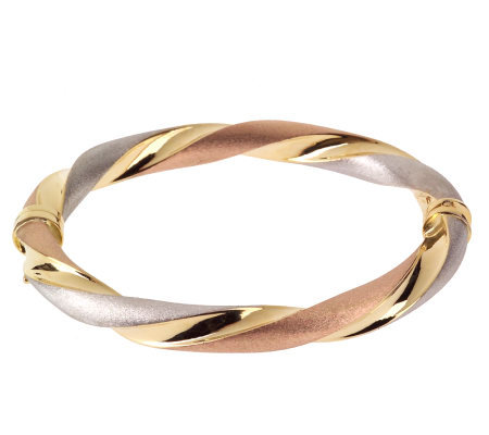 "Arte d'Oro 7"" Tri-Color Twisted Bangle 18K Bracelet, 14.6g"