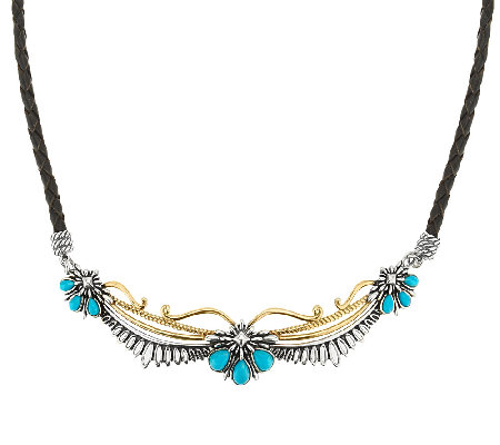 Sterling/Brass Turquoise & Leather Necklace by American West
