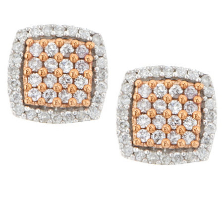 """As Is"" Natural Pink Diamond Earrings, 14K, 1/2 cttw by Affinity"