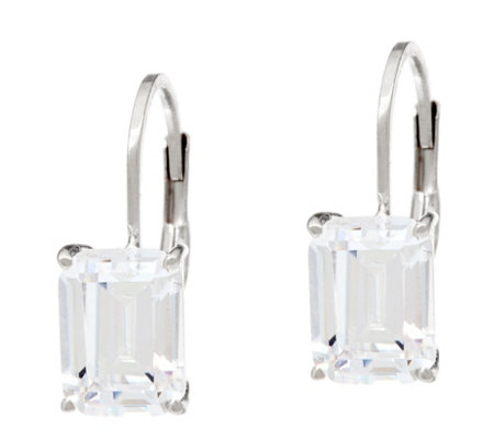 Diamonique Fancy Cut Leverback Earrings, Sterling