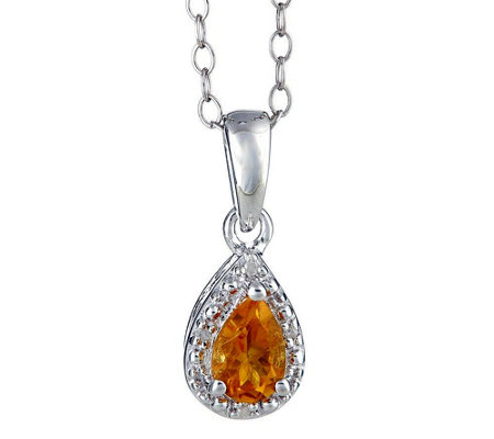 Sterling Pear Gemstone Pendant w/ Diamond Accent & Chain