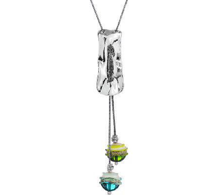 Kalos by Hagit Sterling & Glass Bead Lariat Necklace