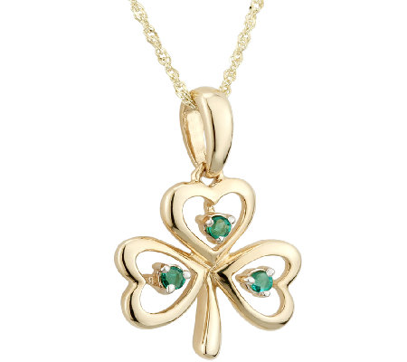 Solvar Emerald Shamrock Knot Pendant with Chain, 14K Gold