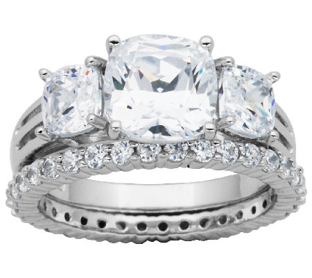 Epiphany Diamonique 4.50cttw 2-Piece Bridal Ring Set