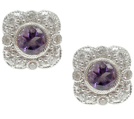 Judith Ripka Sterling Diamonique & Gemstone Stud Earrings