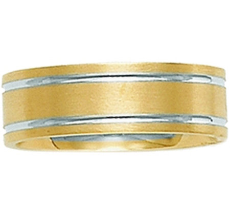 14k Yellow Gold Two Tone Comfort Fit Satin Wedding Band