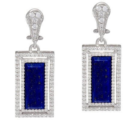 Judith Ripka Sterling Lapis  & Diamonique Earrings