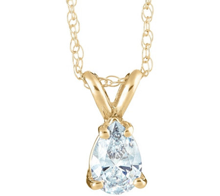 Pear Diamond Pendant, 14K Yellow Gold, 1 ct, byAffinity