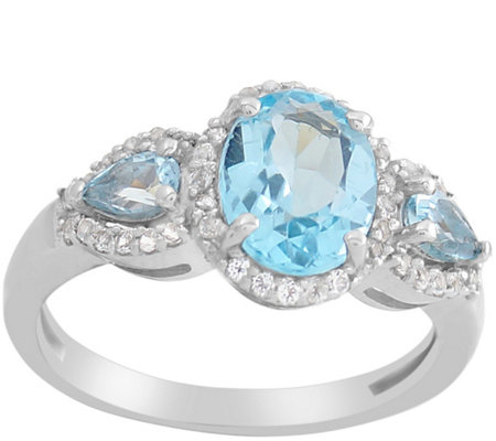 2.20 cttw Blue & White Topaz Three Stone Ring,Sterling