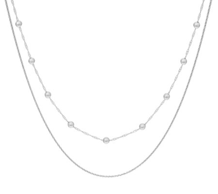 Sterling Silver Double Strand Choker Necklace by Silver Style