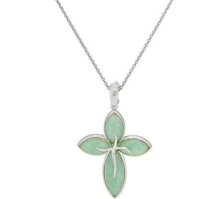 Marquise Jade Sterling Silver Cross Enhancer on Chain