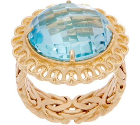 14K Gold Sky Blue Topaz Ring