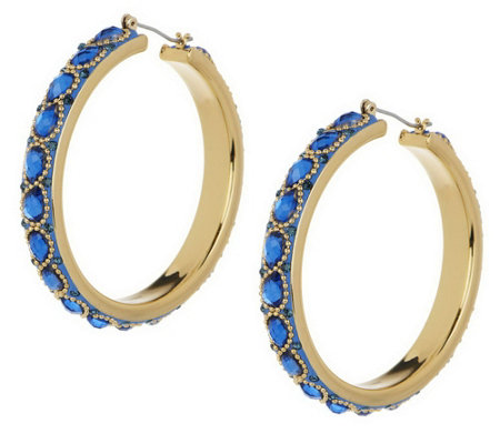 """As Is"" Wendy Williams Intricate Enamel & Facet Hoop Earrings"