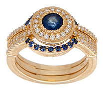 Judith Ripka 14K Gold Gemstone & Diamond Guard Ring Set - J352393