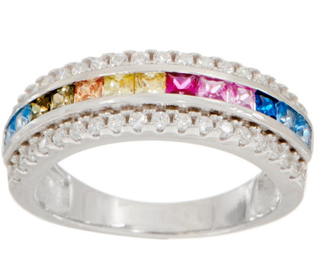 Diamonique Simulated Colors of Sapphire Band Ring, Sterling