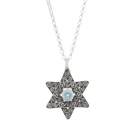 Or Paz Sterling Silver Gemstone Accent Star of David Pendant w/Chain