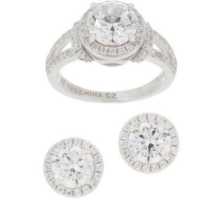 d4f20d6d6a067 Diamonique Halo Ring & Stud Earring Set, Sterling Silver, Boxed — QVC.com