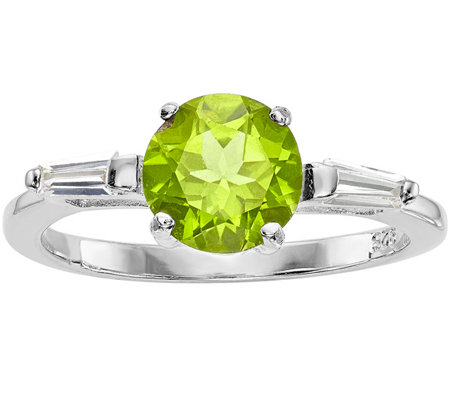 Sterling 2.20 ct Peridot and Crystal Ring