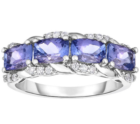 Sterling 2.25 cttw Tanzanite & White Zircon B and Ring