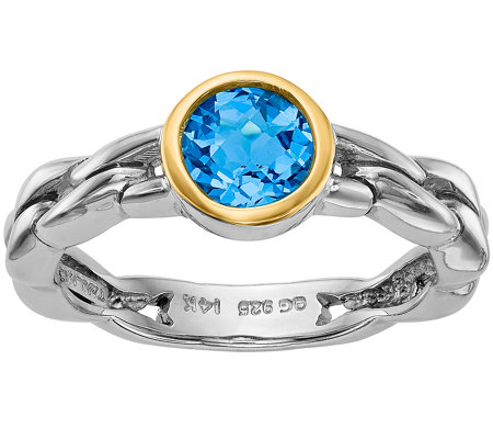 Sterling and 14K 1.35 ct Sky Blue Topaz Ring