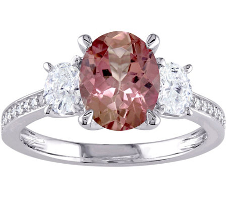 1.95 ct Pink Tourmaline & 1/2 cttw Diamond Ring, 14K