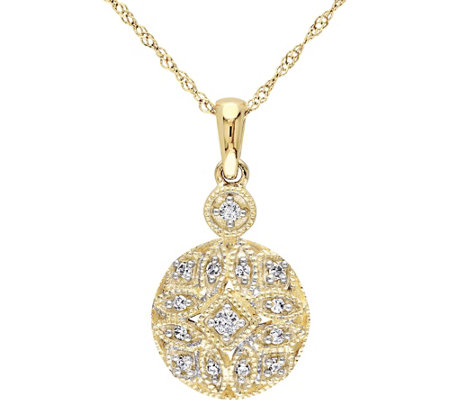 Beaded Filigree Diamond Pendant, 14K, 1/8 cttw,by Affinity