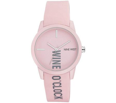 128363e53f91 Nine West Women s Pink Wine O Clock RubberizedStrap Watch. product thumbnail