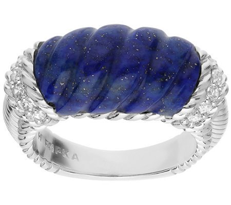 Judith Ripka Sterling Silver Carved Lapis Ring