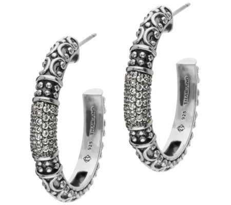 Elyse Ryan Sterling Silver Gemstone Hoop Earrings