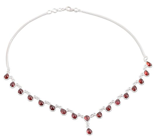 Novica Artisan Crafted Sterling Waterfall Garnet Necklace